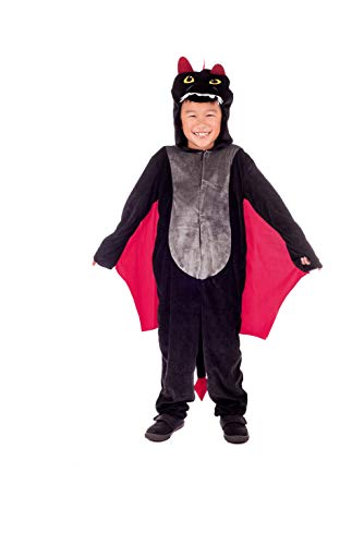 Kids Dragon Costume Childrens Black Hooded Onesie With Wings Outfit - Small