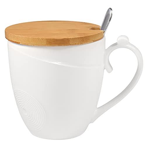 77L Tazza da Caffè con Coperchio e Cucchiaio, Ceramica tazze da caffè - Tazza da tè ufficio, Set tazza di tè con cucchiaio e coperchio per Home Office - 1.46 Cup (350 ML, 11.8 OZ), Bianco