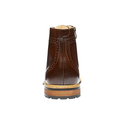 Bruno Marc Men's Dress Ankle Motorcycle Boots Wingtip Leather Lined Derby Oxfords Bergen-01 Dark Brown Size 10 M US