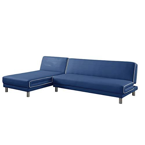 MUEBLIX.COM | Sofa Cama Chaise Longue 3 Plazas GOLMAYO | Sofas de Salón Modernos | Asientos y Respaldo Espuma | Sofa con Estructura de Madera y Patas Metal | Color Azul