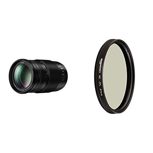 Panasonic H-FSA100300E Lumix G Vario 100-300 mm/ F4.0-5.6 II/O.I.S. schwarz & AmazonBasics Zirkularer Polarisationsfilter - 67mm
