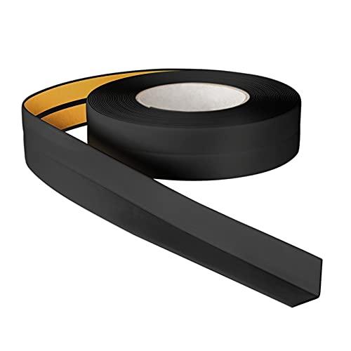 ProfiPVC Plinthe Souple 5m 18x18mm - Baguette adhésive de finition pour la cuisine et la salle de bain, ruban autocollante d'étanchéité en PVC, flexible, Joint douce, Montage facile, noir