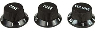 Fender Strat Knobs, One Volume, Two Tone,  Black