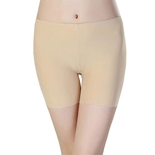 Short Femme Femmes Sécurité Leggins Femme Sécurité Pantalon Court D'Été Soie Taille Moyenne Sexy Solide Respirant Boyshorts Culotte pour Dames Boxer L Abricot