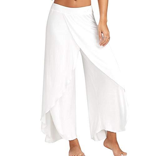 Bebling Pantalones de harén para Mujeres Pantalón de chándal con Abertura Lateral Hippie Yoga Pantalones de Playa Blancos, pequeños