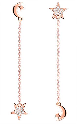MICSAVI Orecchini Pendenti Stelle e Luna Argento 925 con Zirconi, Orecchini Lunghi Stella Luna Asimmetria da Donna Ragazze