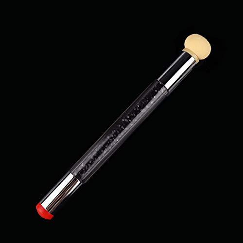 1 Stks Dual-ended Nagel Art Borstel Siliconen Stamper Sponge Blender Strass Handvat Bloeiende Pen