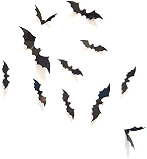 DIY Halloween Party Supplies PVC 3D Decorative Scary Bats Wall Decal Wall Sticker, Halloween Eve Decor Home Window Decorat...