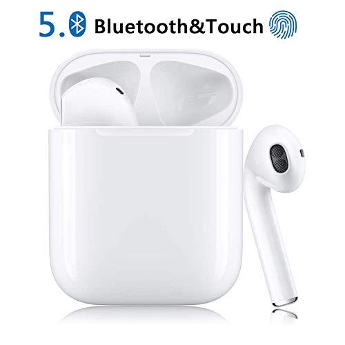 Bluetooth Kopfhörer, Weiß Drahtloses Touch-Bluetooth Noise-Cancelling-Kopfhörer, binaurale In-Ear-Sportohrhörer, Popup-Fenster mit Echtzeit-Display, kompatibel mit Apple Airpods Android/iPhone