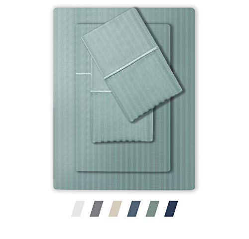 Feather & Stitch 500 Thread Count 100% Cotton Stripe Sheets Set with 2 Twin XL Fitted,1 King Flat, 2 King Pillow Cases .Soft Sateen Weave, Deep Pocket (Granite Green, Split King)
