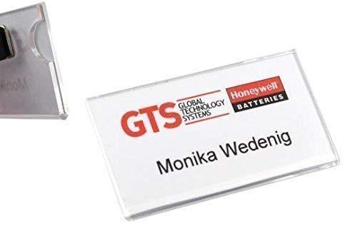 1 Stück Namensschild mit Magnet transparent Acryl-Namensschild, glasklar, 2 mm stark mit Daumenaussparung, verschiedene Größen, mit Magnet namensschild für Kleidung, selbstbeschriftbar, Selbstgestaltung Namensschildchen mit Magnet Plexiglas (75x40 mm)