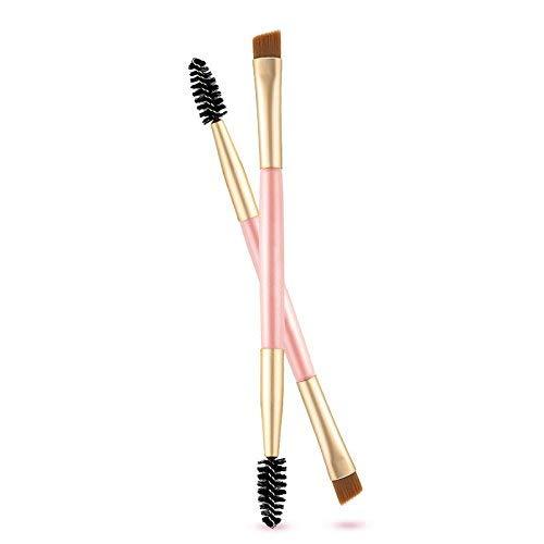 XiZiMi Paquet de 2 sourcils spoolie double poignée coudé et peigne à sourcils pinceau sourcils pour l'application de poudres à sourcils cires gels et mélanges Pink