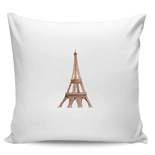 Paris City Fundas de Almohada de 45 cm x 45 cm, Fundas Decorativas para sofá, decoración del hogar, Regalo, cumpleaños, Boda, decoración, diseño de Arte de Vacaciones en Acuarela de la Torre Eiffiel