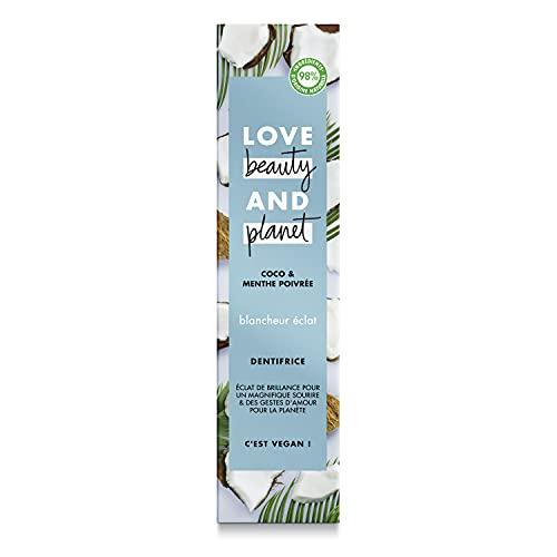 Love Beauty & Planet Dentifrice Blancheur Vegan Blancheur Eclat, Menthe Poivrée et Coco, Formule Biodégradable...