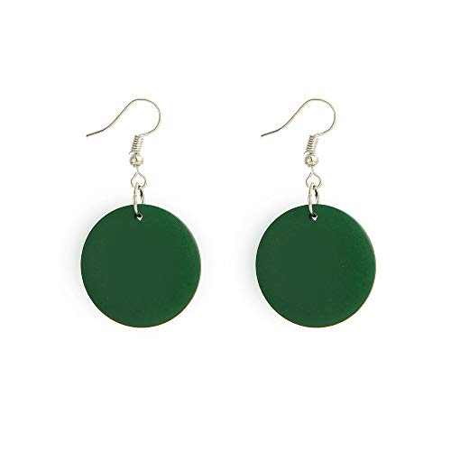 Pulabo Round Dark Green Wooden Earrings Retro Simple Elegant Pendant earhook Comfortable and Environmentally