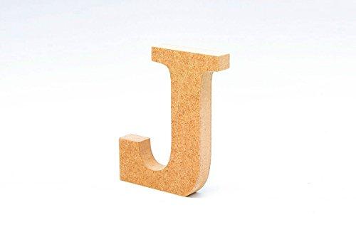 La Lluna Letra J de Madera. Letras Grandes de Madera DM de 12cm de Alto para decoración y Manualidades. Alfabeto Completo (J)