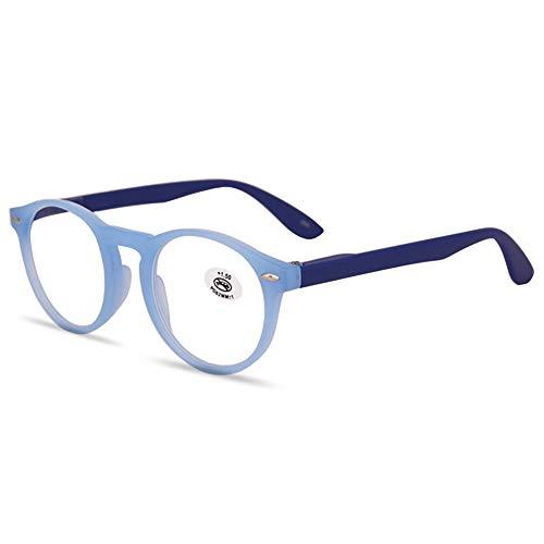 KOOSUFA Gafas de Lectura Hombre Mujer Retro Marco Redondo Bisagras Resorte Ayuda de Lectura Gafas de Visión Completa Gafas de Trabajo Antifatiga 1.0 1.5 2.0 2.5 3.0 3.5 (1x Azul, 1.5)