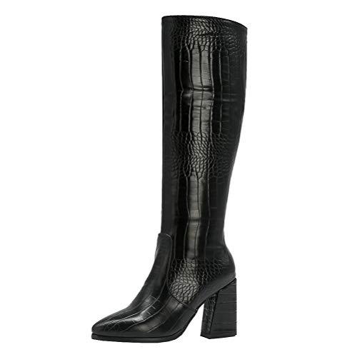 Femany Damen Kniestiefel High Heels Kniehohe Stiefel mit Blockabsatz und Reißverschluss Knee High Boots Spitz Winter Schuhe (Schwarz,39)