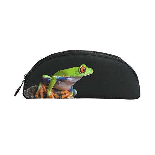 FengJu ペンケース ペンポーチ ペン袋 キャンバス メガネケース 文房具 収納バッグ かわいい小物 入れ 小銭入れ 大容量 おしゃれ 蛙 カエル