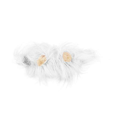 CVBN Disfraz de Mascota, Peluca de Melena de len para Gato, Disfraz de Fiesta de Navidad de Halloween con Oreja, Blanco, M