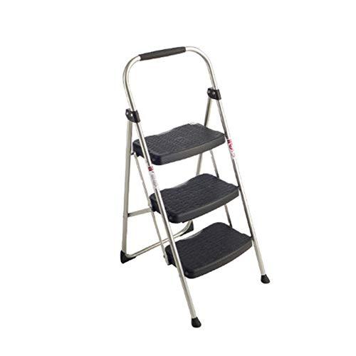 Stufenleiter, 3-Stufen-Eisen-Haushaltsleiter Weit Ladder Folding for Home Office Belastbar 102kg Geeignet Ladder Stabilität und Sicherheit