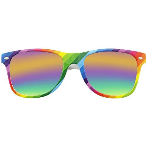Emblem Eyewear - Gehoornd Rand Retro Jaren 80 Partij Festival Regenboog Gespiegeld Zonnebril Voor Mannen Dames