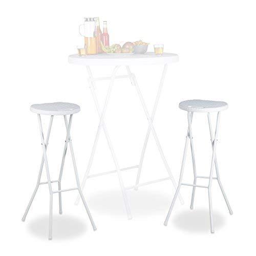 Relaxdays Bastian Plegable taburetes de Bar (2Unidades, Impermeable, 80cm de Altura, Desayuno Silla Doble Asiento Unidades, plastico, Contador, Color Blanco