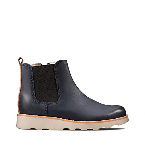 Clarks Jungen Crown Halo K Chelsea Boots, Blau (Navy Leather Navy Leather), 31 EU