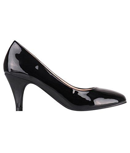 5790-BLK-4, KRISP Zapatos Tacón Salón Elegantes Baratos Fiesta, Negro (5790), 37