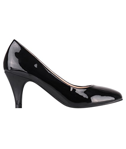 5790-BLK-8, KRISP Zapatos Tacón Salón Elegantes Fiesta, Negro (5790), 41
