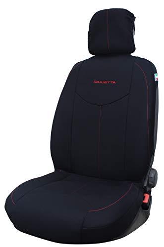 Par de fundas de asiento específicas para Alfa Romeo Giulietta con logo a elegir (Giulietta estampado)