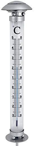 Solar Gartenthermometer mit LED-Beleuchtet | 112cm groß | kalt-weiß beleuchtet | Außenthermometer mit Erdspieß | wetterfest