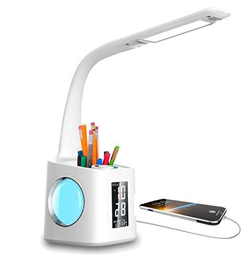 VAZILLIO LED Schreibtischlampe Dimmbar Stifthalter 10W Nachttischlampe mit Schwanenhals, Tischleuchte mit LCD Display,kalender, Wecker Temperaturerfassung Leselampe Weihnachtsgeschenke … (Weiß-1)
