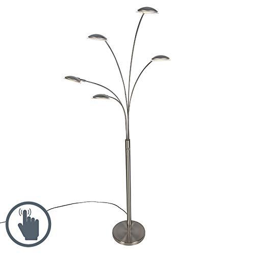 QAZQA Design Design Stehleuchte/Stehlampe/Standleuchte/Lampe/Leuchte Stahl/Silber/nickel matt 5-flammig inkl. LED - Sixties Trento Touch-funktion Dimmer/Dimmbar/Innenbeleuchtung/Wohn