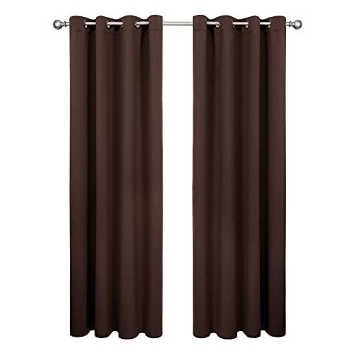 Amazon Brand - Umi Tende Oscuranti Termoisolanti per Finestra con Occhielli 140x260cm Cioccolato 2 Pezzi