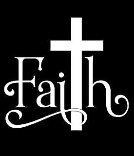 CCI Faith Cross Christian Decal Vinyl Sticker|Cars Trucks Vans Walls Laptop|White |7.0 x 6.3 in|CCI1859