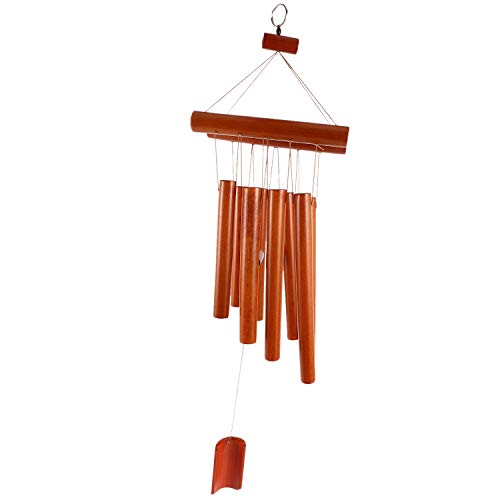Autumne Hand-Crafted Bamboo Tubes Wind Chimes Hollow Tuned Music Natural Bamboo Wind Chime with a Ladder on Top for Indoor and Outdoor