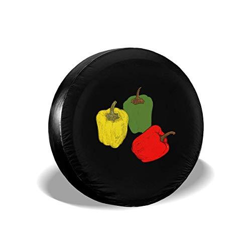 Drew Tours Gemüse Grün Rot Gelb Pfeffer Ersatzreifenabdeckung Radkappen für Fahrzeuge 16inch