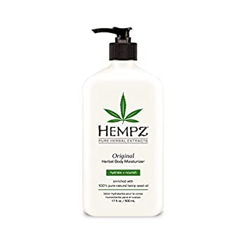 Hempz Original Natural Hemp Seed Oil Body Moisturizer with Shea Butter and Ginseng 17 Fl Oz Pure Herbal Skin Lotion for Dryness - Nourishing Vegan Body Cream in Floral and Banana