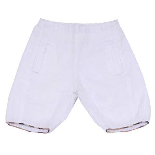 BURBERRY 1643Y Pantalone Bimba Girl Baby White Cotton Trouser Pant [3 Months]