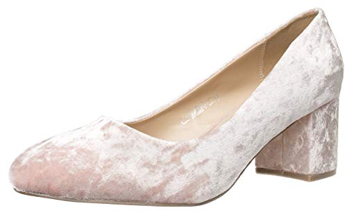 Fitters Footwear That Fits Damen Pump Sesy Samt Pumps mit Blockabsatz Übergröße (43 EU, rosa)