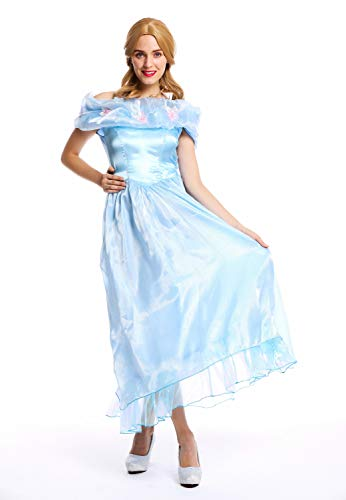 dressmeup W-0220 Kostüm Damen Frauen Karneval Prinzessin Fee Ballkleid hellblau M