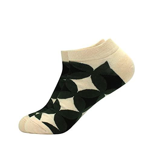 3 Pares de Calcetines Calcetines de Barco para Hombre Calcetines Cortos de Verano Calcetines de algodón de Colores para Hombre de Entramado geométrico de Negocios de Calidad-a3-b3