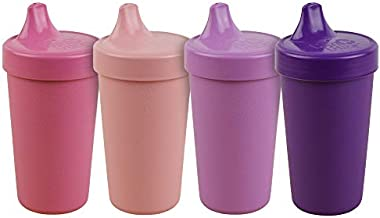 Re-Play Made in The USA 4pk No Spill Cups for Baby, Toddler, and Child Feeding in Bright Pink, Blush, Purple and Amethyst | Made from Eco Friendly Heavyweight Recycled Milk Jugs | (Princess+)