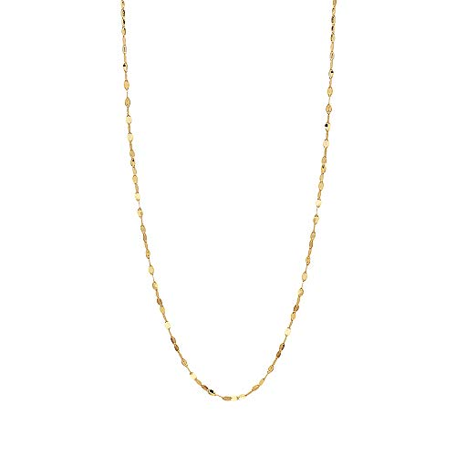 10K Solid Gold 2.0MM Diamond Cut Mirror Chain Necklace -Unisex Sizes 14'-30' (Yellow, 22)