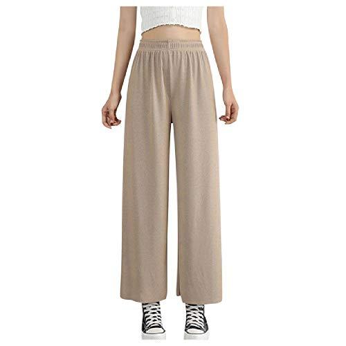 N\P Verano de la Cintura Casual Pantalones Rectos de las Mujeres de la Mujer de la Cintura Elástica Suelta de Punto Ancho de
