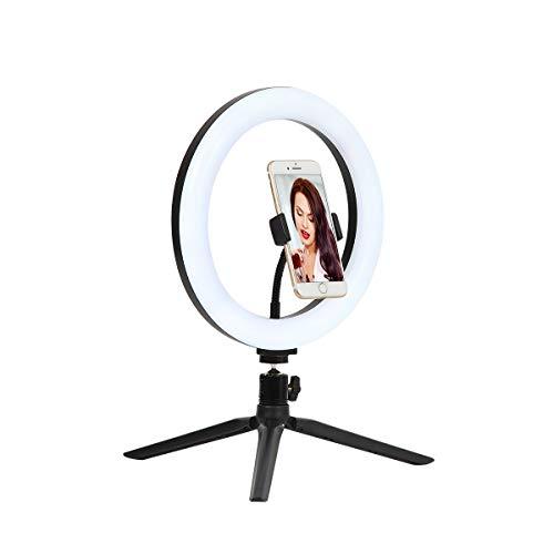 """Jandei - stativringljus 10 """"/ 260 mm med justerbart mobilställ, 3 belysningslägen med 10 ljusstyrka för selfies, sminkvideor, fotografering, Youtube, TikTok, Instagram."""