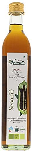 Farm Naturelle (Glass Bottles) Virgin Cold Pressed Black Sesame Seed Cooking Oil-(500ML)