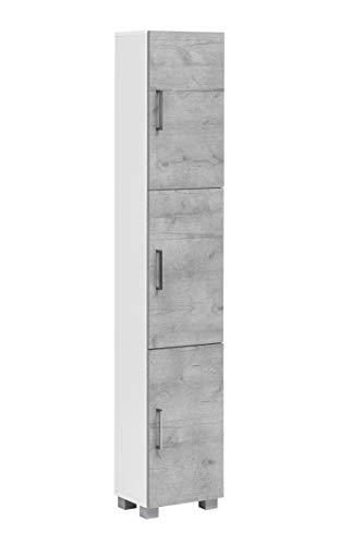 Schildmeyer Samu Hochschrank 147720, weiß glanz / steingrau, 30,3 / 23,3 / 167,6 cm