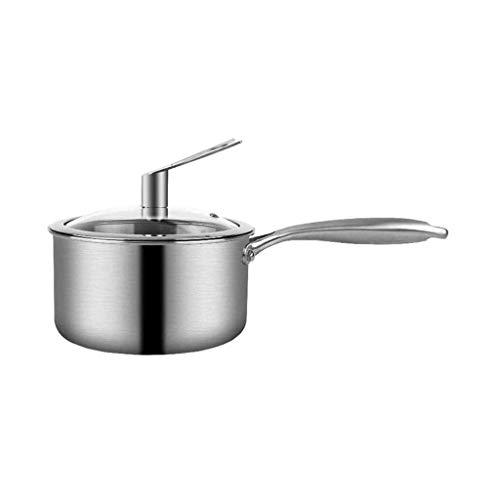 TYUXINSD Durable Pote de Sopa de Fondo Sellado de Tres Capas de Acero Inoxidable con Tapa de Vidrio for la Seguridad de la inducción, el Horno y la Seguridad del lavaplatos
